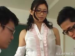Horny Japanese College Teacher Pleasures Two Horny Guys