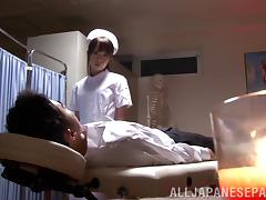 Sexy Asian Nurse With Long Hair Giving An Arousing Handjob