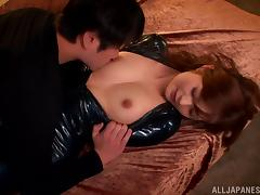 Rina Ishihara gets her mouth and pussy smashed in latex fetish clip