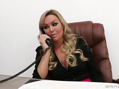 Beautiful Blonde Cougar With Huge Fake Tits Enjoying A Hardcore Fuck In Her Office