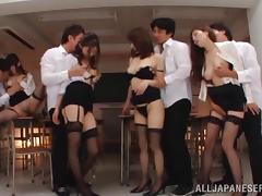 Some sexy Japanese bitches enjoy ardent group banging indoors