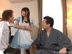 Splendid Yui Sasaki Goes Hardcore With Two Dudes In A MMF