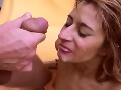 German skinny lady bj and facial