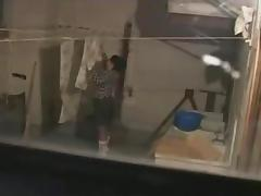 Voyeur Tapes A Pair Having Sex On The Patio