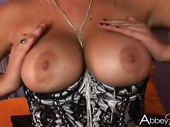 Cougar MILF Solo Model Fondling Her Big Tits Then Masturbates