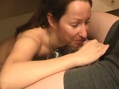 Amateur brunette milf sucks a prick in hardcore homemade POV