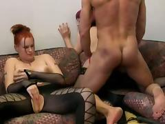 Chubby chick and bff enjoying cock in threesome