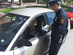 Blond bitch seduces a cop and takes him to her place for sex