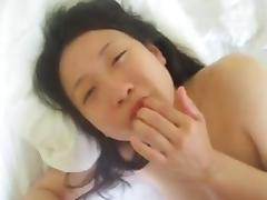 Japanese cumslut spit on while fucking eats cum off her face