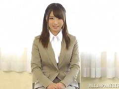 Japanese babe is masturbated in her work clothes