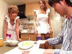 Two sexy Japanese maids favour a guy with fantastic grinding