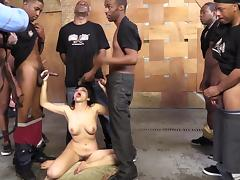 Hardcore interracial gangbang with brunette bitch Valentina Nappi
