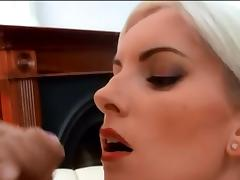 Beautiful blonde huge facial