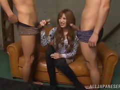 Hot Asian Blonde Handles Two Hard Cocks In A Threesome