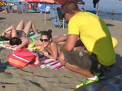 Beach, Babe, Beach, Brunette, Outdoor, Public
