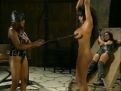 Hardcore BDSM lesbian scene with three curvy black bitches