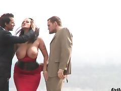 Attractive Cougar With Fake Tits Gets A Nasty Facial Cumshot