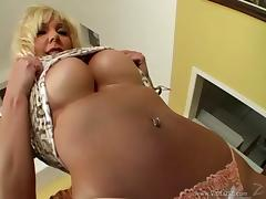 Misty Vonage lets a man play with her fake tits and rides his cock
