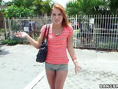 Redhead hussy Daisy Dalton gets picked up in the street