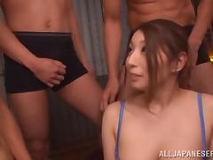 Hina Akiyoshi shows her titjob skills in hardcore gangbang clip