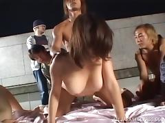 Hardcore Asian gets cunt ravaged in gangbang outdoor