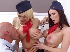Sleazy sluts sharing cock in threesome