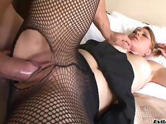 Lovely porn beauty gets pussy nailed in fishnet stockings