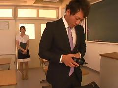 Beautiful Japanese babe Rio horny teacher gets cock