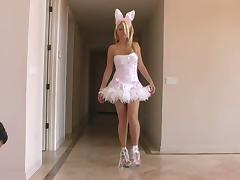 Sexy bunny Alison Angel shakes her ass in front of a cam