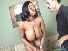 Carmen Hayes's natural black tits bounce as she jumps on a dick