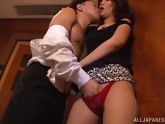 Sexy Japanese girl with big natural tits enjoying a hardcore missionary style fuck