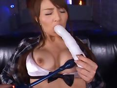 Jessica Kisaki Hot Asian doll gets bukkake action!