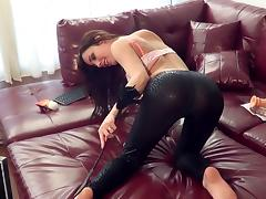 Dazzling brunette solo model with a nice ass in a sexy bra drilling her pussy with toys