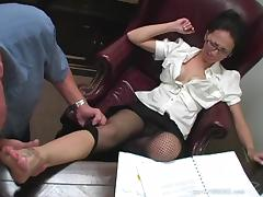 All, Couple, Fishnet, Glasses, MILF, Office