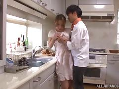 Ayaka Fujikita gets her cunt toyed to orgasm in the kitchen