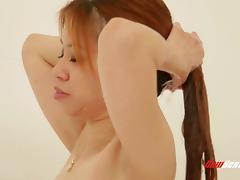 Brilliant redhead dame with shaved pussy swallows cum after being drilled missionary