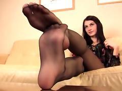 very hot nylon feet let you cum