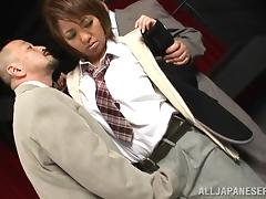 Naughty office lady Hikari in a naughty fuck break time threesome