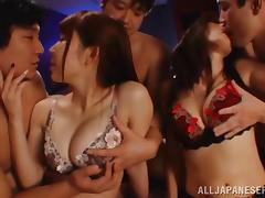 Two big-breasted Japanese chicks enjoy rough group sex