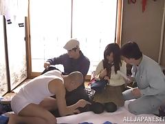 Cute Japanese Teen Gangbanged by Three Guys at Once