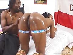 Black butt beauty Barbiee gets oiled and fucked hardcore