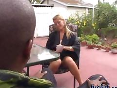 Blonde milf Chelsea loves her neighbors black cock