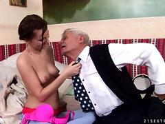 Captain grandpa nibbles nipples and drills young girl's coochie