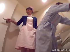 Sexy nurse in uniform on duty gets dirty riding stiff wang