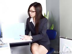 Long hair Nozomi Yui get horny in office and copulates with her lover