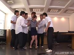 Hot gangbang sex with horny hot ass porn teacher Rina Isihara