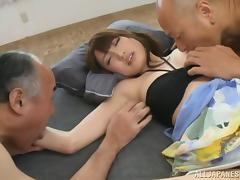 Asian hot milf beauty Karin Aizawa enjoying a hot cum on face