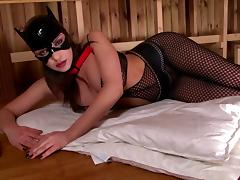 Slut explores kitty fetish in mask and fishnet with anal insertions