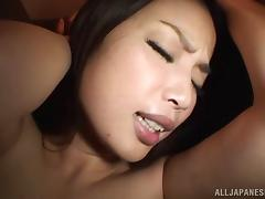 Busty Japanese babes with natural tits swallows cum after giving huge dick blowjob in pov shoot
