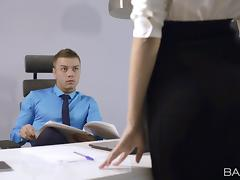 Sheri Vi plays dirty games with a dude in an office
